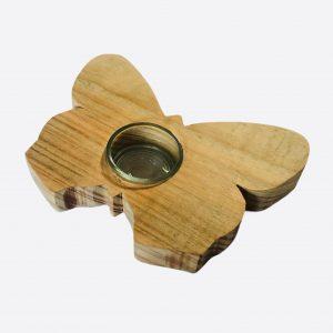 Vlinder waxinelichthouder van hout